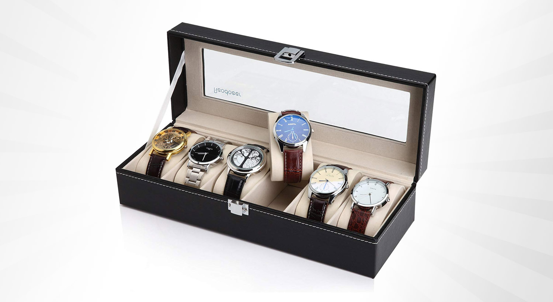 Uhrenbox Uhrenkoffer 24 Uhren Uhrentruhe Uhrenkasten Uhrenschatul mit Schlüsse